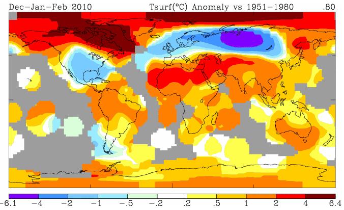 Ricostruzione dell'anomalia termica di GISS per il trimestre invernale del 2010