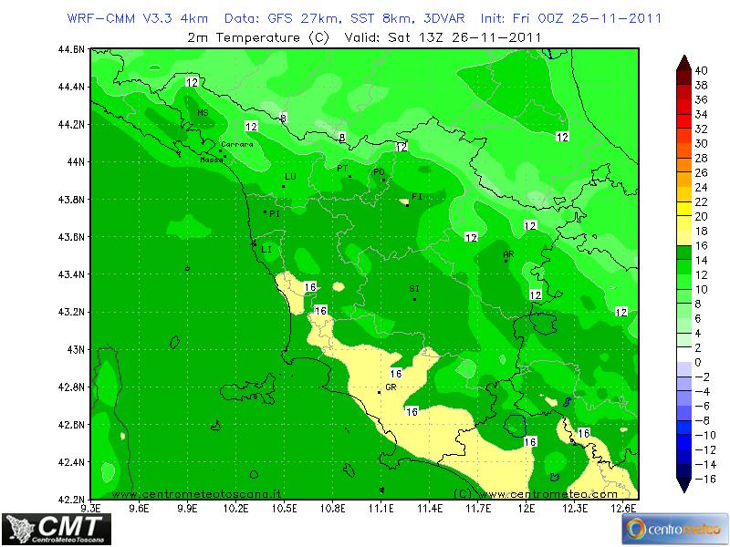 Temperature massime previste per Sabato ore 13