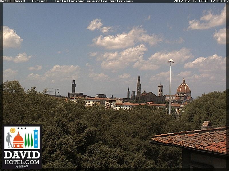 Nuova Webcam di Firenze: in un contesto soleggiato notiamo le nubi. Link webcam http://www.davidhotel.com/meteo/firenze.jpg