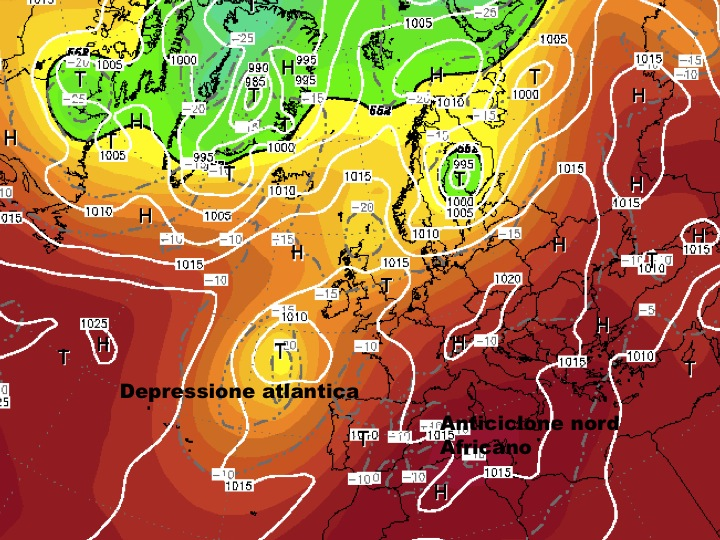 mappa riferita al pomeriggio di mercoledì prossimo 8 Agosto, si nota l'ennesima l'espansione dell'anticlone nord Africano verso l'Italia