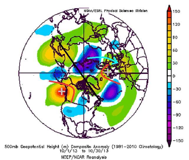 Nella seguente figura vengono mostrate le anomalie di geopotenziale a livello emisferico, alla quota di 500hpa, relative mese di Ottobre 2013.