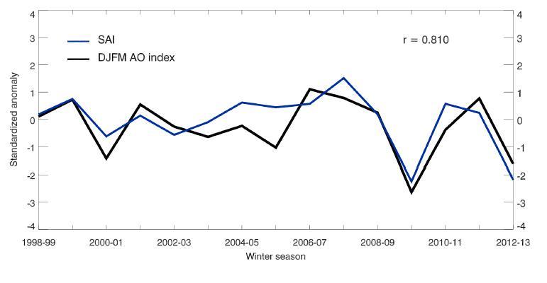 Nella figura è mostrata la correlazione tra il SAI, calcolato sull'innevamento al di sotto del 60 parallelo sul settore euroasiatico che si verifica nel mese di ottobre, e l'AO del successivo quadrimestre invernale DJFM AO. La correlazione risulta molto elevata e pari all'81%.